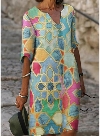 Print 1/2 Sleeves Shift Knee Length Casual Dresses