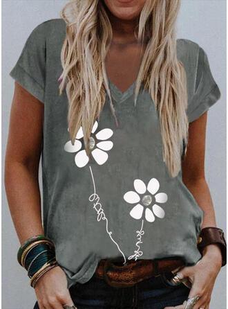 Blumen Druck Buchstaben V-Ausschnitt Kurze Ärmel T-Shirts