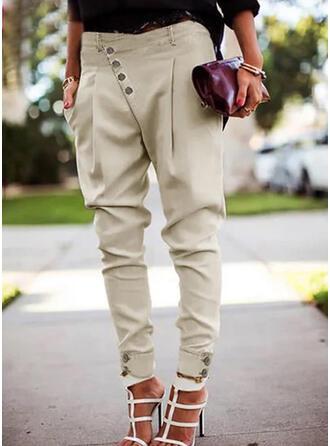 Jednolity Marszczona Duży rozmiar Elegancki Seksowny Spodnie