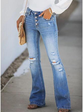 shirred Ripped Elegant Sexet Denim & Jeans