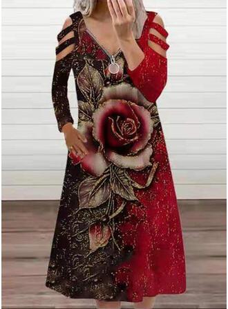 Imprimeu/Floral Mâneci Lungi Soğuk omuz kılıfı Shift Elbiseleri Tunică gündelik Midi Elbiseler
