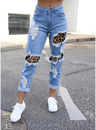 shirred Plus størrelse Ripped Lang Casual Sexet Denim & Jeans