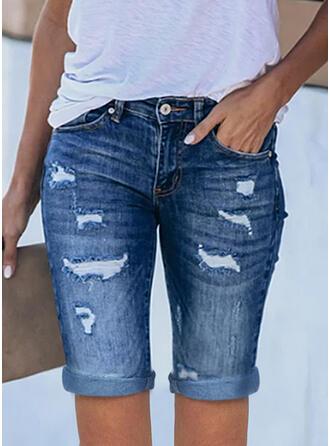 Sólido Jean Acima do joelho Casual Tamanho positivo Escritório / Negócios Bolso rasgado Calção Jeans