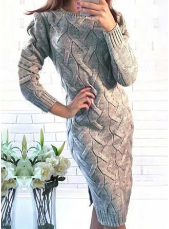 Solid Cable-knit Round Neck Casual Long Tight Sweater Dress