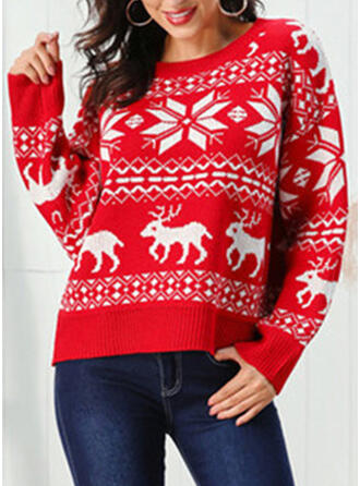 Imprimeu Tricot Cablu Bucată tricotată Guler Rotund Pulover urât de Crăciun