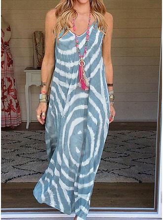 Распечатать безрукавный Прямые платья слип Повседневная Макси Платья