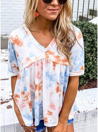 Tie Dye V-Neck Short Sleeves T-shirts