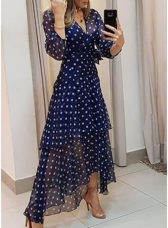 PolkaDot 3/4 Sleeves A-line Casual/Boho Maxi Dresses