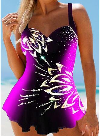 Estampado Junção de cores Cinta Decote em V Tamanho positivo Atraente Vestidos de banho Maiôs