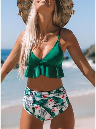 Imprimeu Yukarı itmek Ruffles Curea Decolteu în V Sevimli Bikini Mayolar