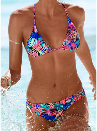 Tropical Print Backless Lace Up V-Neck Strapless Sexy Boho Bikinis Swimsuits