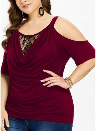 Lace Solid Cold Shoulder Short Sleeves Casual Elegant Plus Size Blouses