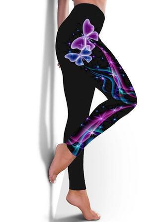 Trykk Pluss størrelse Avslappet Sportslig Yoga leggings