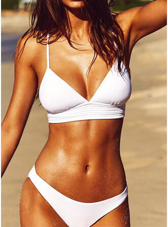 Solid Color Strap V-Neck Sexy Fresh Bikinis Swimsuits