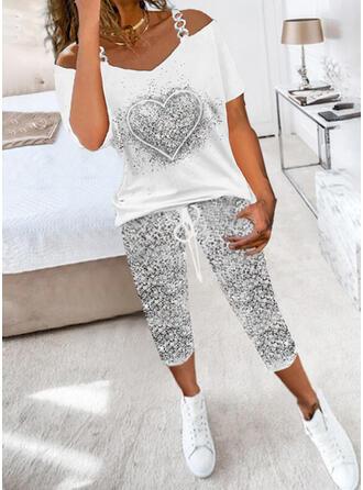 Tisk Srdce Neformální Sportovní Plus velikost handsstring Kalhoty Dvoudílné outfity