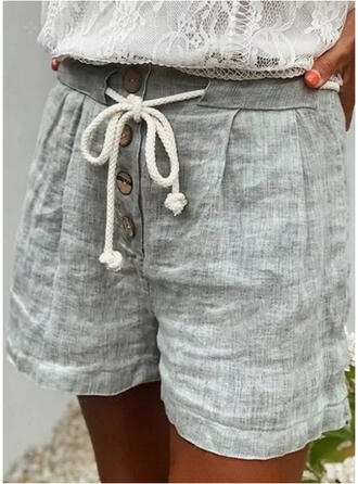 Solid Above Knee Casual Drawstring Pants Shorts