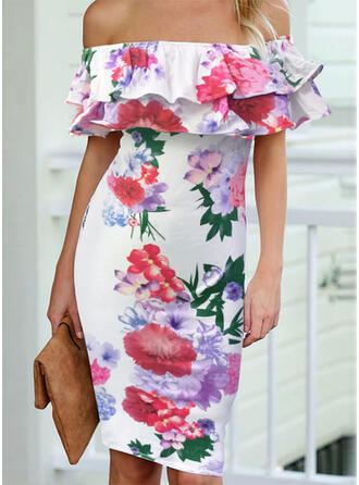 Nadrukowana/Kwiatowy Krótkie rękawy Bodycon Długośc do kolan Casual Sukienki