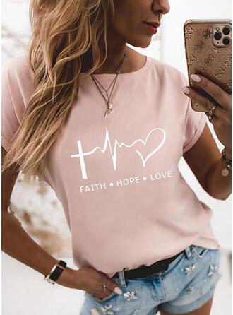 Figura Serce Nadruk Okrągły dekolt Krótkie rękawy T-shirty