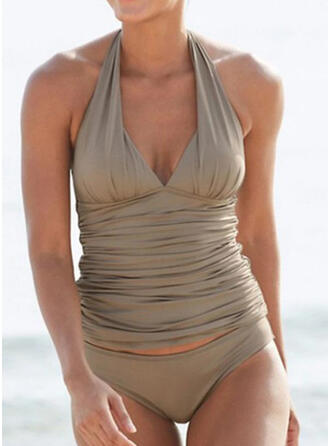 Solid Color Strap Sexy Vintage Tankinis Swimsuits