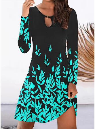 Imprimeu Mâneci Lungi Shift Elbiseleri Până la Genunchi gündelik Tunică Elbiseler