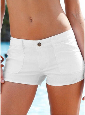 Solid Diz üstü Sexy Büyük beden Pocket Buton Pantolonlar Şort