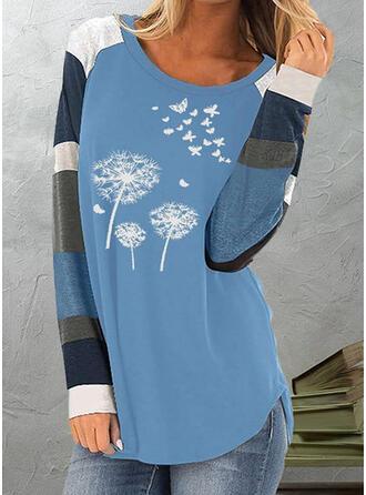 Color Block Dandelion Print Round Neck Long Sleeves T-shirts