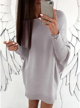 Solid Bucată tricotată Bir omuz Rochie pulover