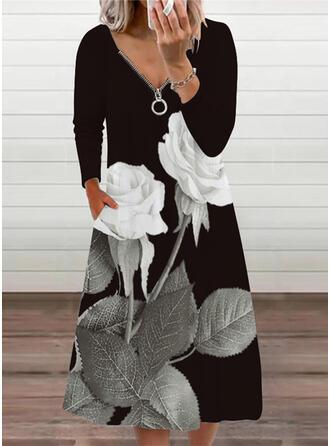 Распечатать/Цветочный Длинные рукова Прямые платья Повседневная миди Платья