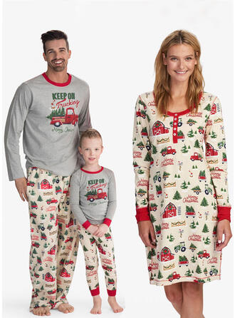 Letter Print Familie matchende Jule Pyjamas