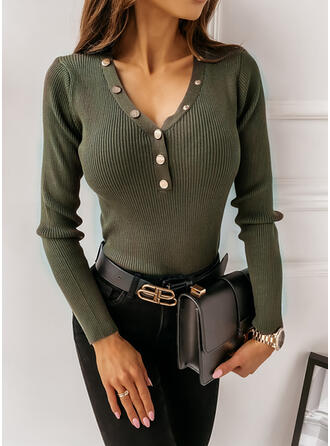 Solid V-Neck Casual Tight Sweaters