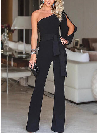 Solid One-Shoulder Lange ærmer Elegant Party jumpsuit