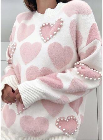 Impresión Con cuentas Corazón Cuello Redondo Casuales Suéteres