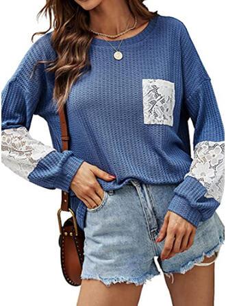 Solid Guler Rotund Mâneci Lungi Tişörtler