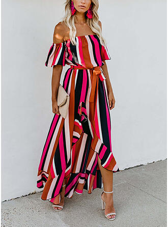 Color Block 1/2 Sleeves A-line Skater Casual/Vacation Maxi Dresses