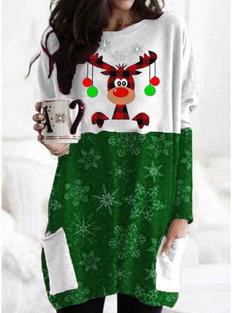 Animal Print Sequins Round Neck Long Sleeves Christmas Sweatshirt