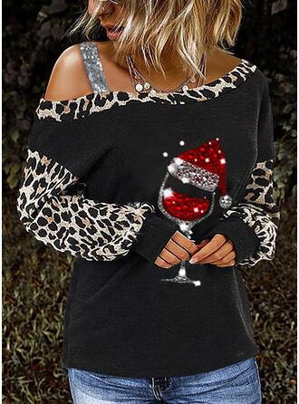 Pailletten luipaard One Shoulder Lange Mouwen Casual Kerstmis Overhemd