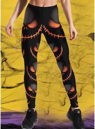 Halloween Estampado Grandes Casual Desportivo Tamanho positivo Calças Leggings