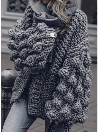 Solid Tykk strikket Casual Cardigan