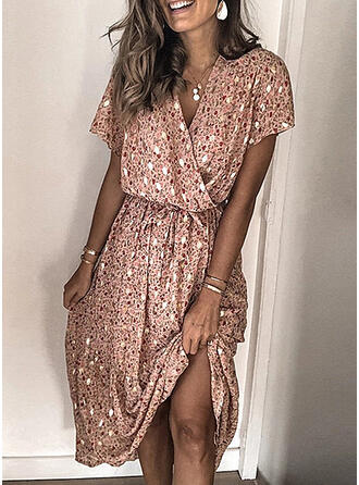 Print Short Sleeves A-line Knee Length Casual Dresses