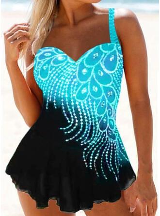 Print Strap Sexy Elegant Plus Size Swimdresses Swimsuits