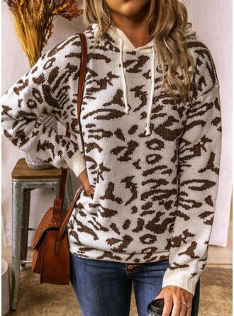 ヒョウ フード付き カジュアル セーター