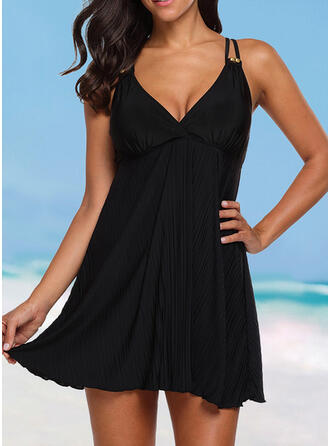 Solid Strap V-Neck Elegant Plus Size Casual Swimdresses Swimsuits