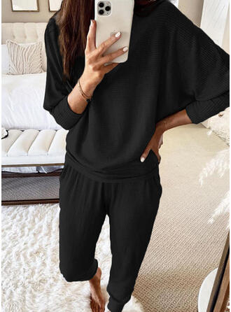 Solid Sporty Casual Tee & Two-Piece Outfits Set