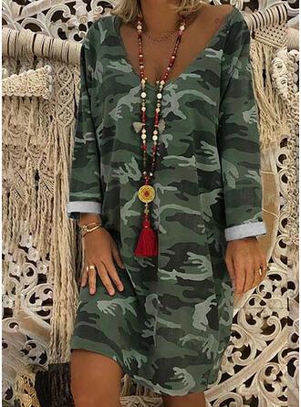 Print Long Sleeves Shift Knee Length Casual/Boho Dresses