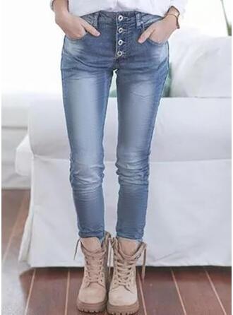 Sólido Jean Grandes Casual Tamanho positivo Bolso Button Jeans