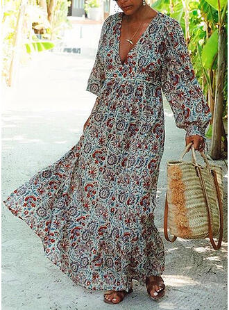 Print Long Sleeves/Lantern Sleeve A-line Skater Boho/Vacation Maxi Dresses