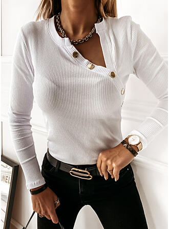 Solid V-Neck Long Sleeves Button Up Casual Basic Knit Blouses