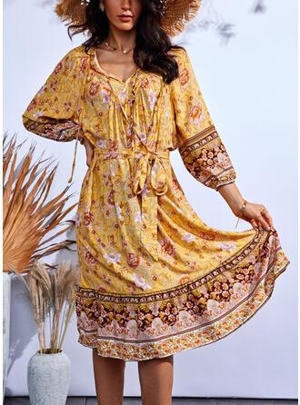 Imprimeu/Floral Mâneci Lungi Bir Çizgi Până la Genunchi gündelik Patenci Elbiseler