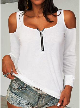 Solid Soğuk omuz Mâneci Lungi Tişörtler