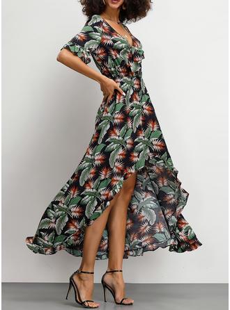 Print 1/2 Sleeves A-line Asymmetrical Casual/Boho/Vacation Dresses